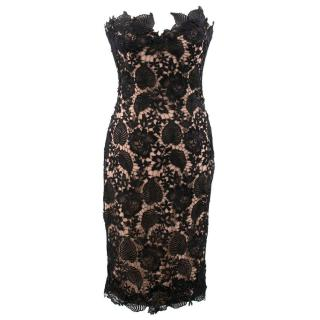 Philip Armstrong Black and Nude Guipure Lace Dress