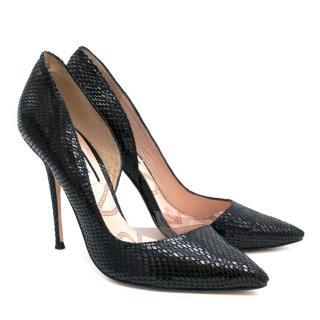 Lucy Choi Black Snakeskin Heels