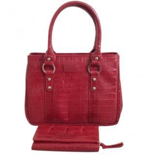 Osprey red leather crocodile print handbag and matching purse