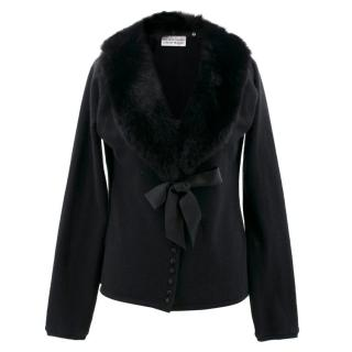 Bellville Sassoon Lorcan Mullany Black Fur Collar Cardigan