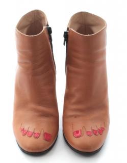 Vivetta Mettalic Heel Leather Ankle Boots