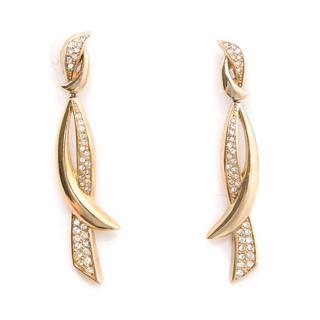 Christian Dior Gold Metal Drop Earrings
