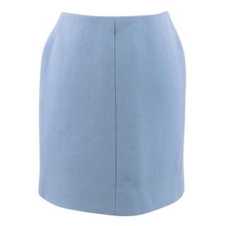 Carven Light Blue Crepe Wool Miniskirt