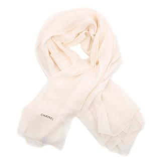 Chanel Cream Silk Scarf