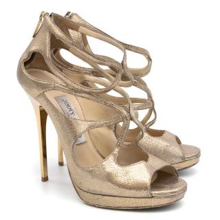 Jimmy Choo Gold textured leather strappy platform sandals