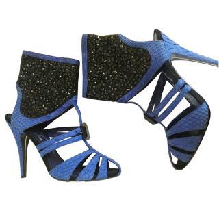 Darmaki London Blue Python And Crystal Heels