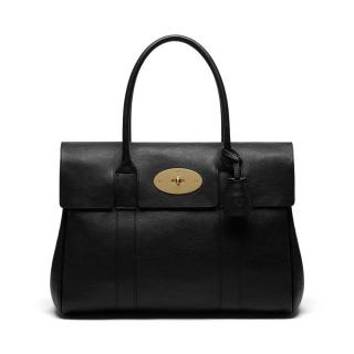 Mulberry Bayswater Black Grainy Print with Nickel Hardware