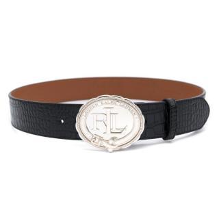 Lauren Ralph Lauren Black Leather Seal Plaque Belt