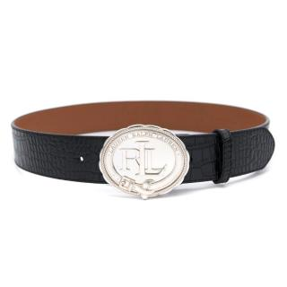 Lauren Ralph Lauren Black Leather Seal Plaque Belt