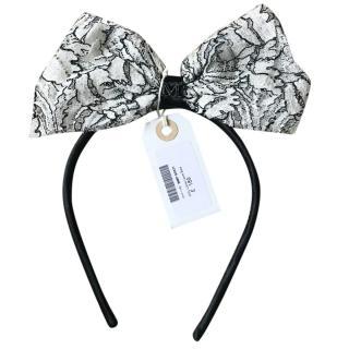 Maison Michel Kitty Laine Black & White Lace Bow Headband