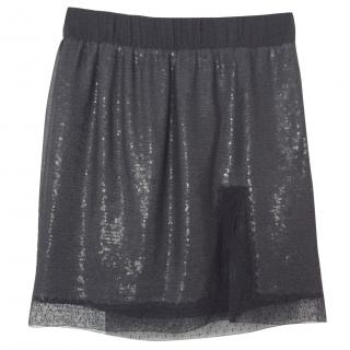 Diane Von Furstenberg Black Sequin Mini Skirt