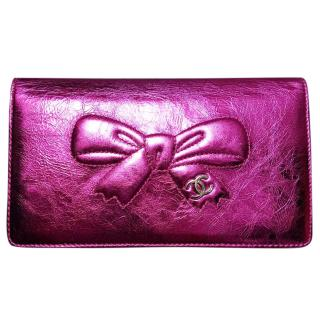 Chanel cc leather bow wallet