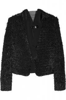 Theyskens Theory Justed raffia-effect silk-georgette jacket