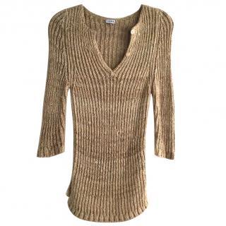 Loewe SS15 silk camel knit henley jumper top