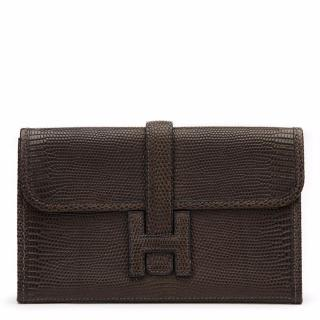 Hermes Ebene Lizard Mini Jige Clutch Bag