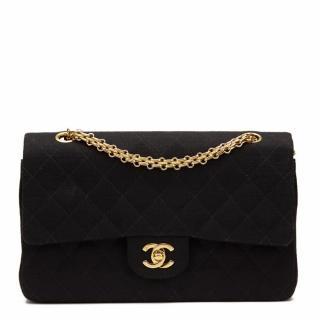 Chanel Black Jersey Medium Double Flap Bag