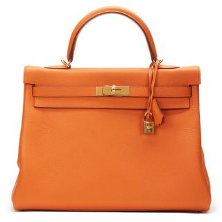 Hermes Orange Clemence Kelly 35cm Retourne Bag