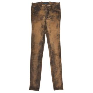 Ralph Lauren Brown Distressed Leather Trousers