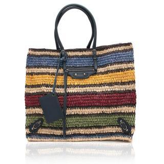 Balenciaga Striped Raffia Tote Bag