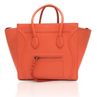 Celine Coral Leather Medium Luggage Phantom Tote Bag