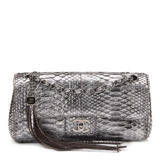 Chanel Metallic Silver Python Classic Single Flap Bag