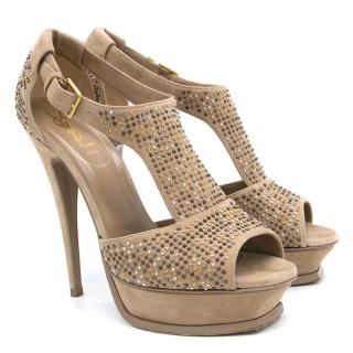 YSL Suede Studded Tribute Heels