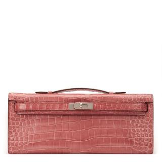 Hermes Rose Indienne Shiny Porosus Crocodile Leather Kelly Cut