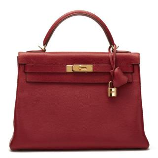 Hermes Rouge Garance Vache Liegee Leather Kelly 32cm Retourne Bag