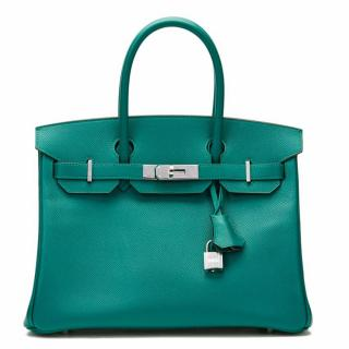Hermes Malachite Epsom Leather Birkin 30cm Bag
