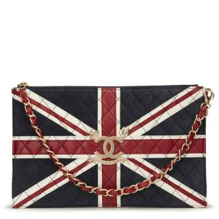 Chanel Navy Suede, Red & White Lambskin Union Jack Pouch Bag