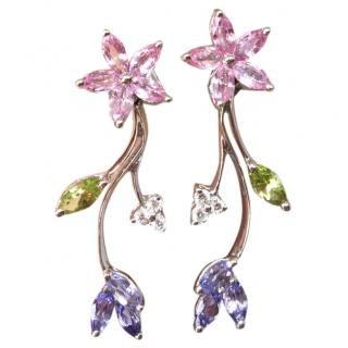 18ct White Gold Pink Sapphire, Diamond, Tanzanite & Peridot Earrings