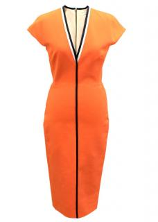 Victoria Beckham Orange Midi Dress
