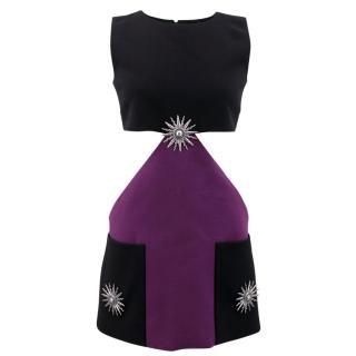 Fausto Puglisi Black and Purple Mini Dress