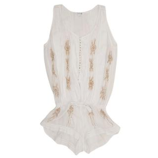 Poupette White Embroidered Playsuit