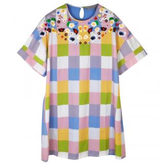 Preen Line multicolour check floral embroidered dress