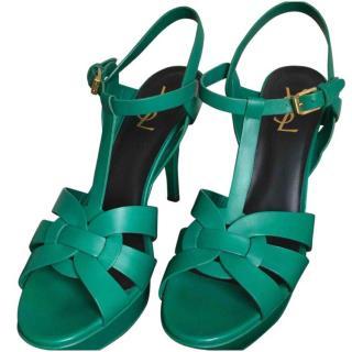 Yves Saint Laurent green tribute Sandals