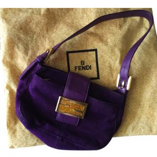 Fendi purple suede baguette