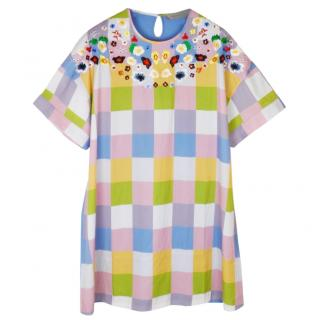 Preen Line multicolour check floral embroidered dress