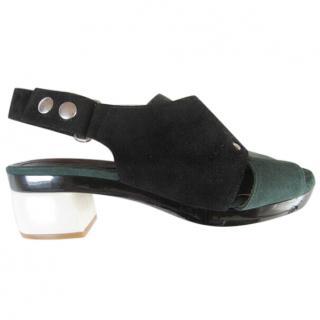 Marni suede green/black slingback sandal.