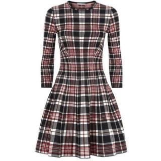 Alexander McQueen tartan plaid wool flare dress