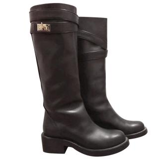 Givenchy shark lock black riding boots