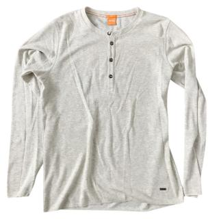 Boss Orange Topsider Fine Heather Waffle Henley Grey