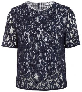 Carven gingham & lace top.
