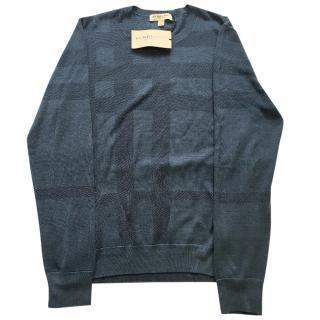 Burberry tonal check silk sweater