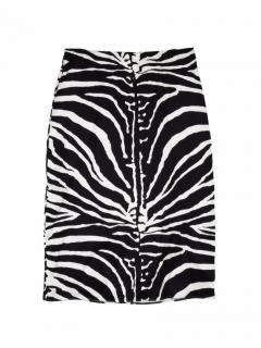 Carven animal print silk black and white skirt