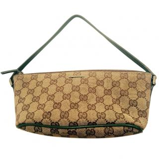 Gucci logo small tote with green trim