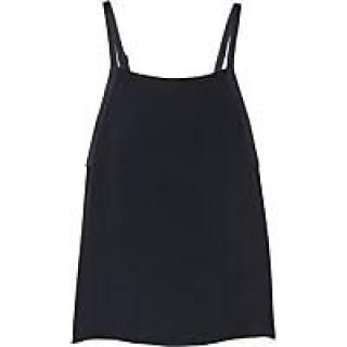 Adam Lippes Navy Blue Satin Trimmed Crepe Tank Top