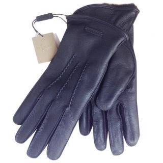 Burberry unworn black fur lined men's gloves