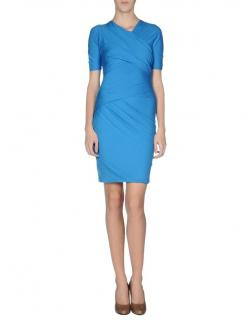 Carven blue ruched fitted jersey dress S