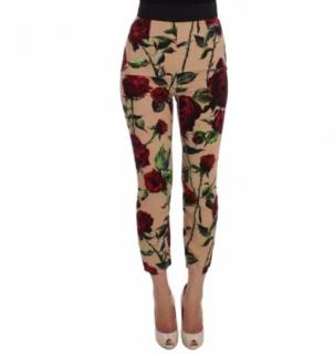 Dolce Gabbana Rose print trousers